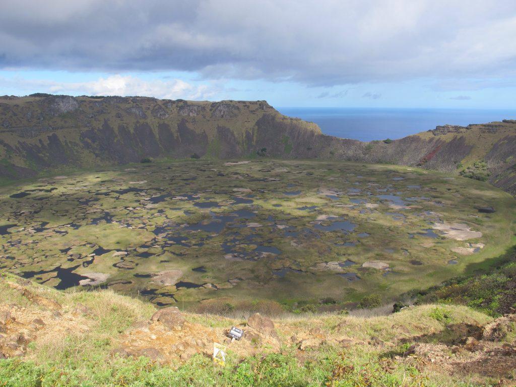 Vulcão Rano Kau em Orongo