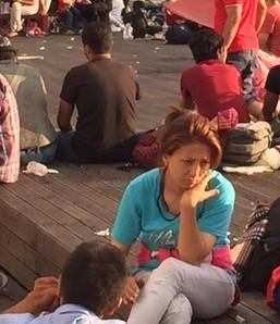 Olhar entristecido de uma refugiada