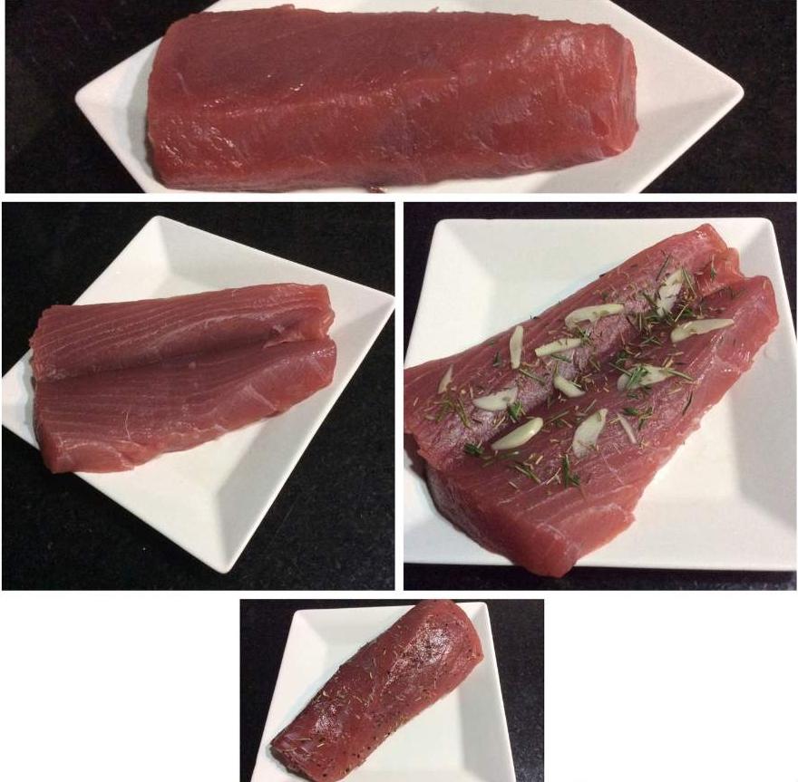 Atum Grelhado com Crosta de Gergelim Preparando peixe