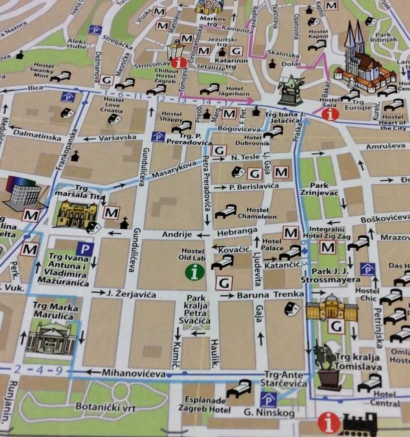 o que fazer em Zagreb Mapa da cidade