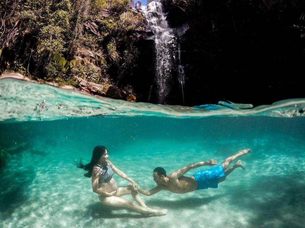 ensaio-gestante-Cachoeira Santa Barbara Cavalcante Goiás