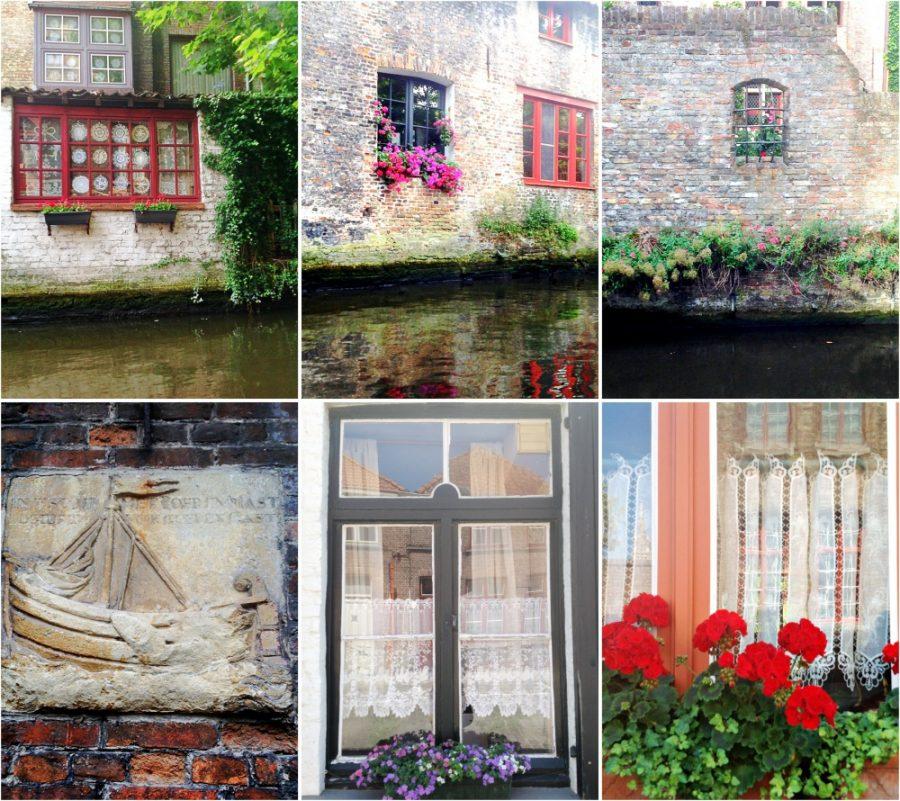 Bruges - detalhes charmosos das janelas e paredes