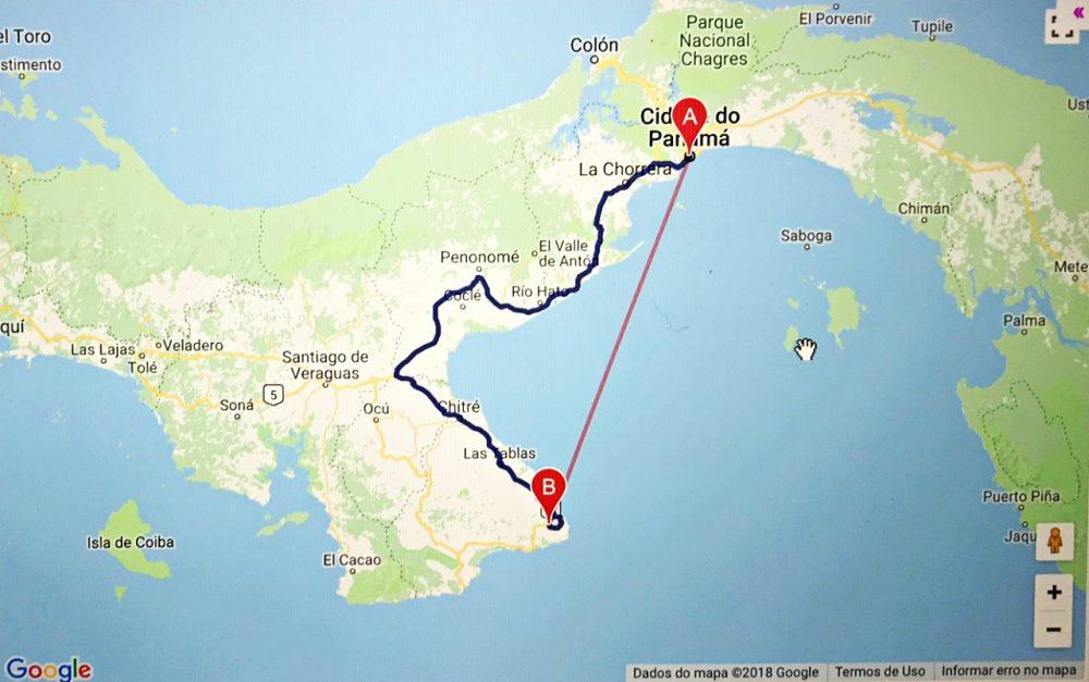 Pedasi - mapa distancia cidade do Panamá