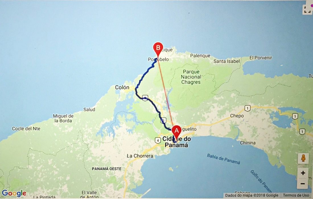 Trajeto Cidade do Panamá a Portobelo - mapa
