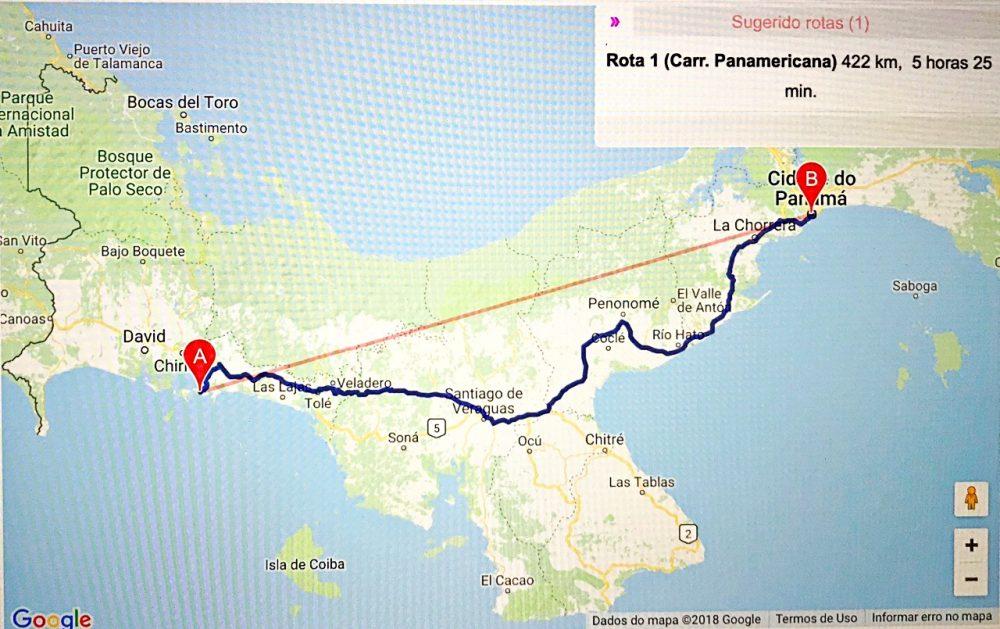 Mapa - Cidade do Panamá a Boca Brava