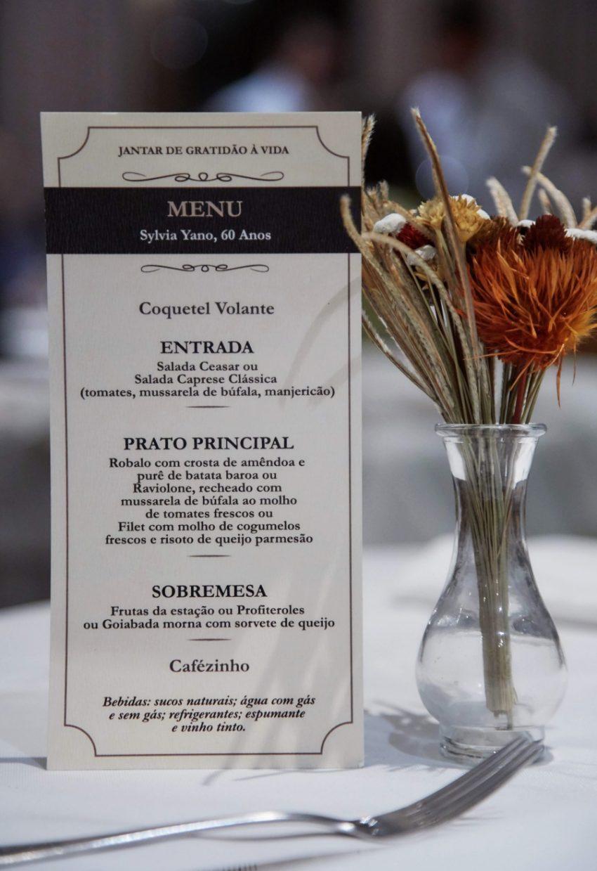 Restaurante Piantella - menu aniversário Sylvia Yano