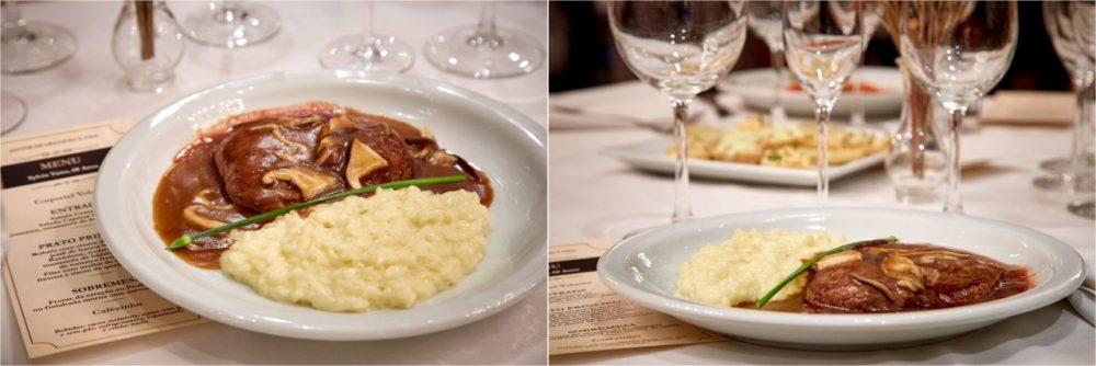 Restaurante Piantella - file com molho de cogumelos e risoto de parmesão