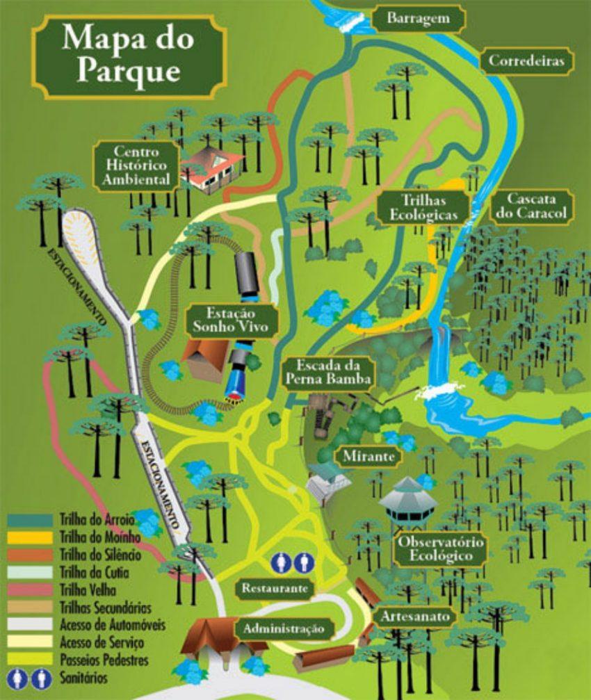 Parque Estadual do Caracol - mapa