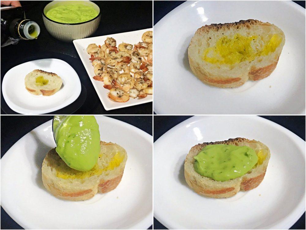 Bruschetta de camarão e creme de abacate - preparando