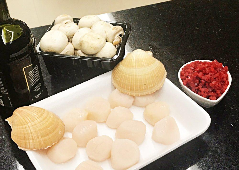 Vieiras Grelhadas em Cama de Champignon - ingredientes