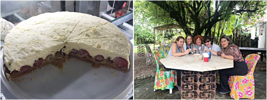 Morretes - blogueiras de viagem comendo morangoffe