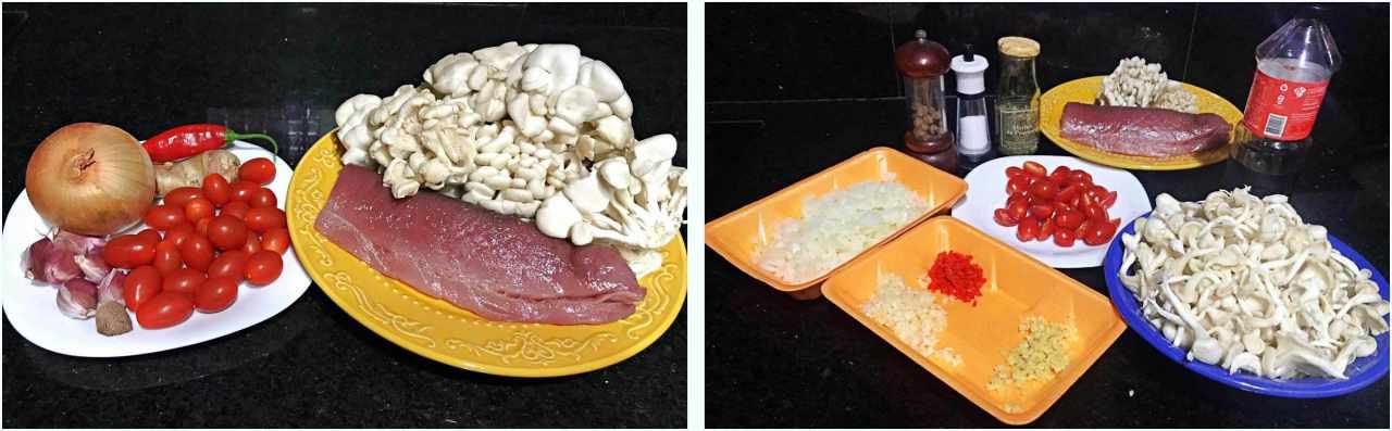 Atum grelhado com cogumelos salteados - ingredientes
