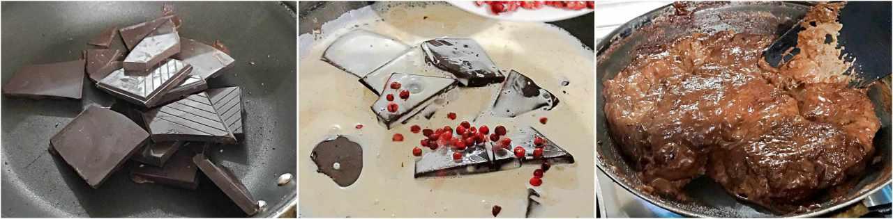 Camarão com molho de chocolate