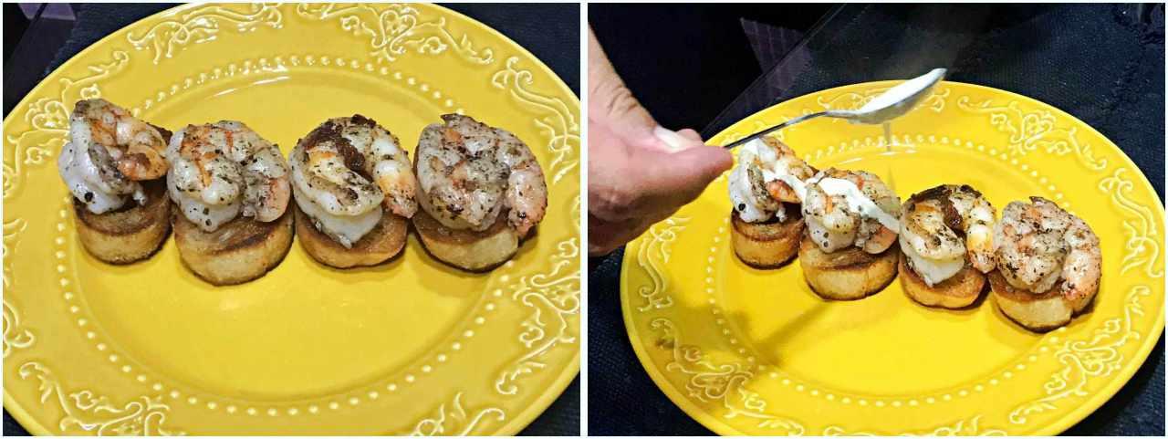 Camarão com molho de Brie - montando o prato