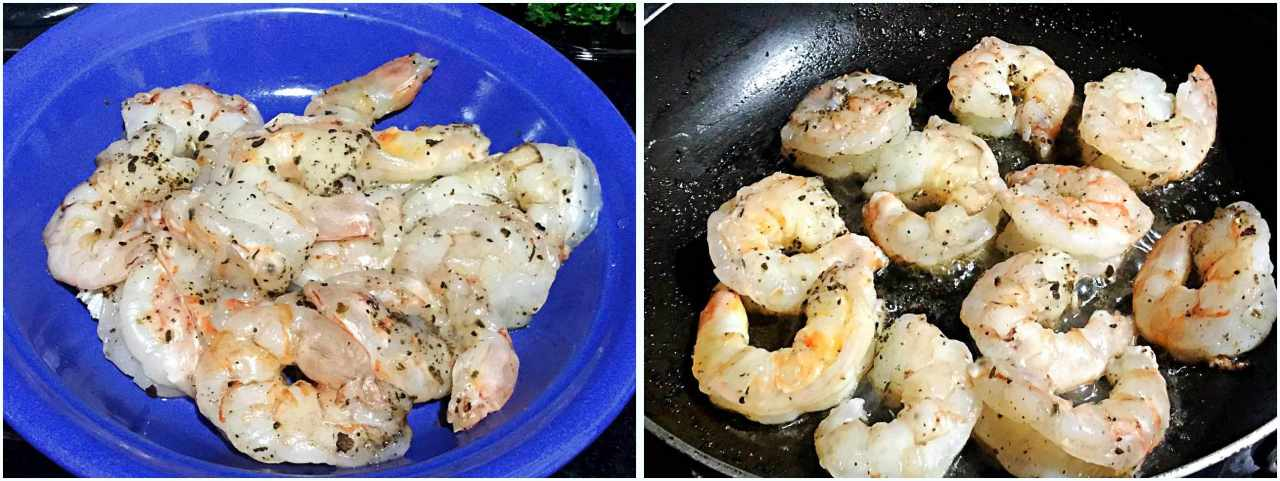 Camarão com molho de Brie - preparando o camarão