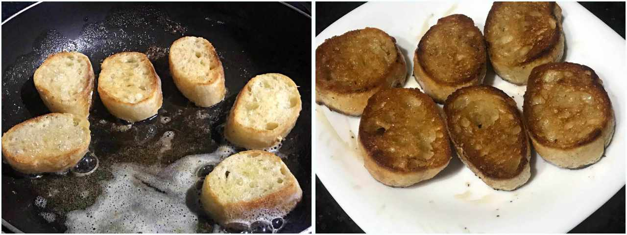 Camarão com molho de Brie - preparando as torradas