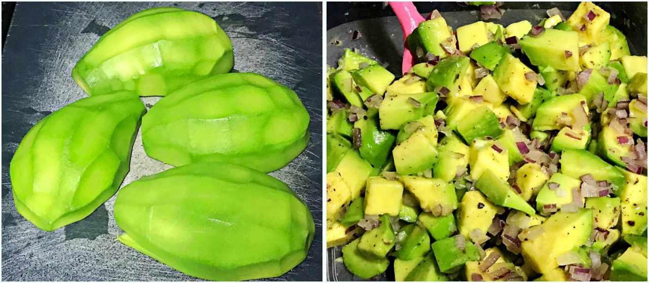Tartar de Abacate com Camarão - abacate e tempero