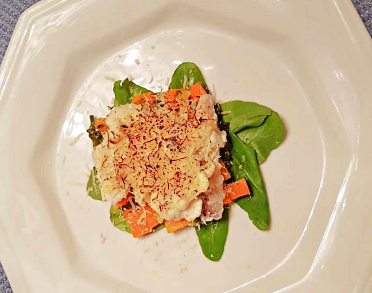 Bacalhau com Legumes e Crosta de Queijo