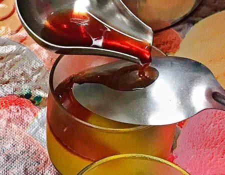 Sorbet de manga com redução de hibisco