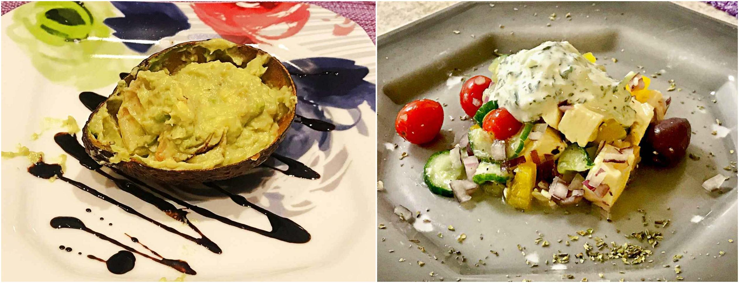 camarão com creme de abacate e salada grega