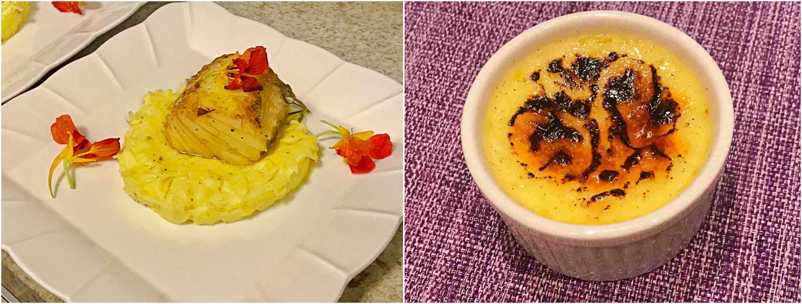 Confit de bacalhau e Crème Brûleé