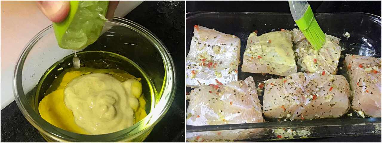 Molho de mostarda - crosta do robalo