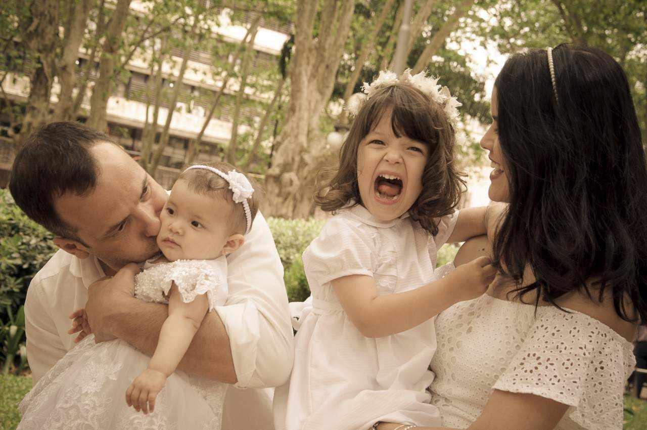 Marina e família no dia do Batizado a Mel, em Montevideo