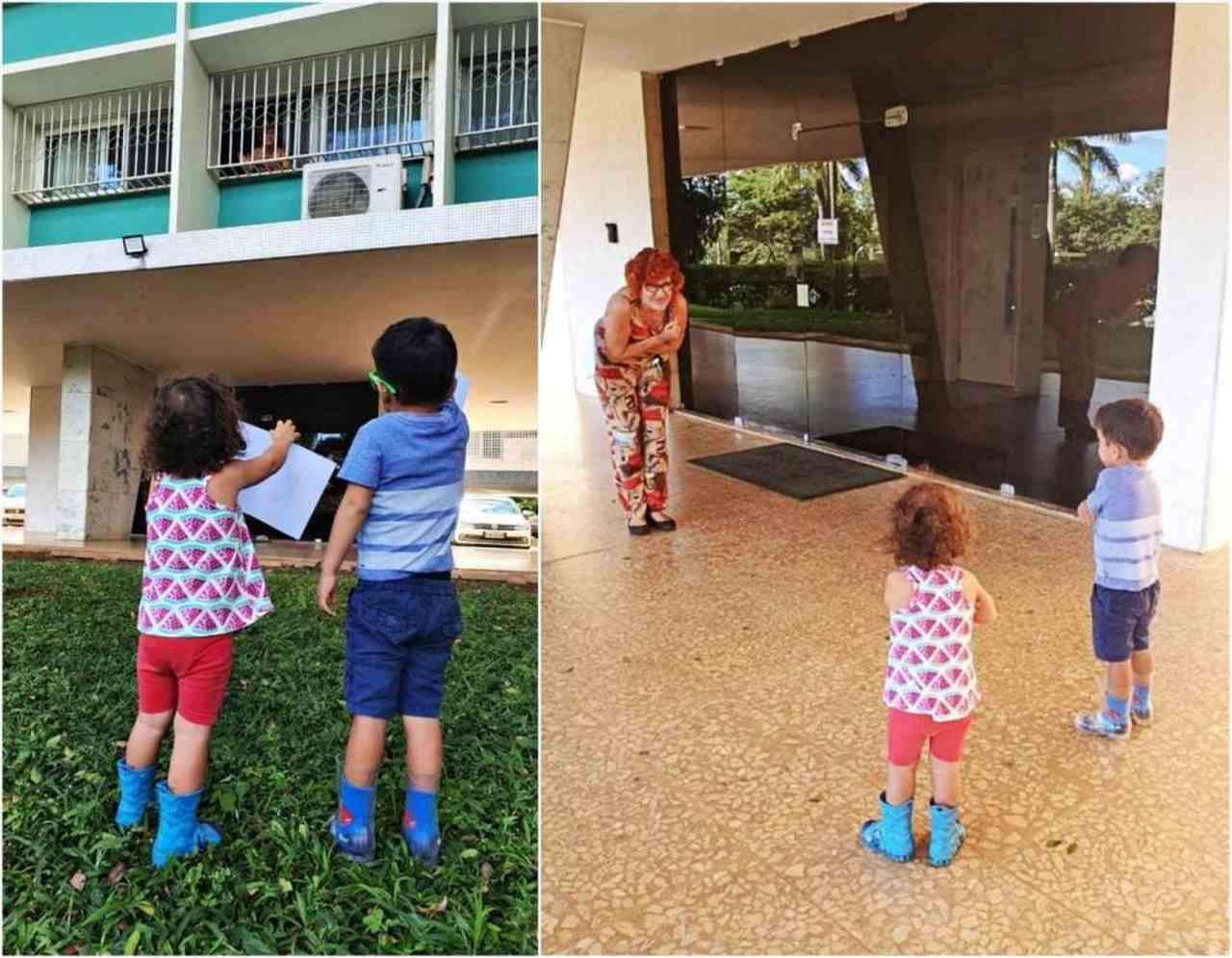 Netos visitando a avó em tempos de COVID-19