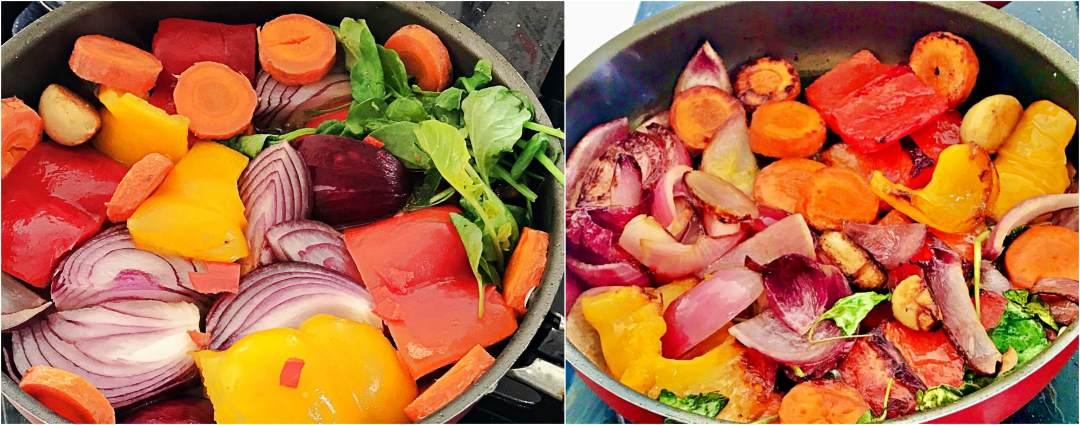 Grelhando legumes - cama de legumes e polvo