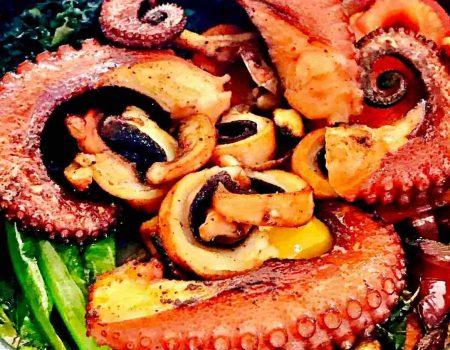 Como preparar polvo grelhado com legumes